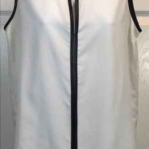 Apt. 9 Tops - Apt. 9 White Black Top Leatherette Lined Top S B1